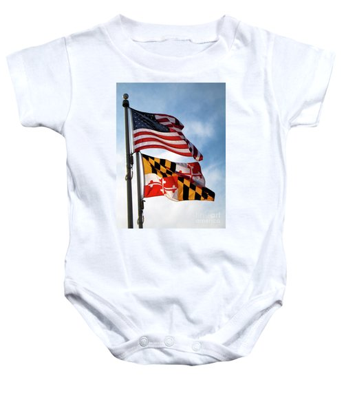 Us And Maryland Flags Baby Onesie