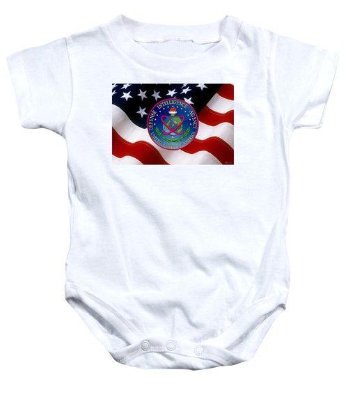 U. S. Defense Intelligence Agency - D I A Emblem Over Flag Baby Onesie