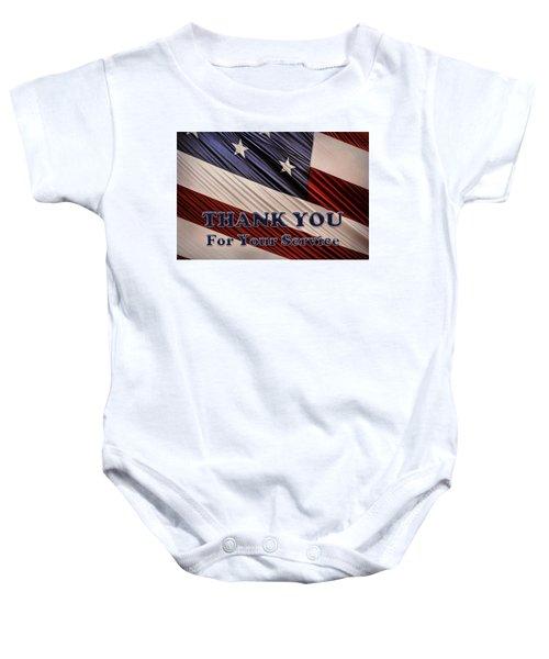 Usa Military Veterans Patriotic Flag Thank You Baby Onesie