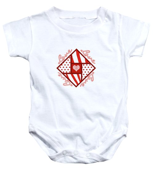 Valentine 4 Square Quilt Block Baby Onesie by Methune Hively