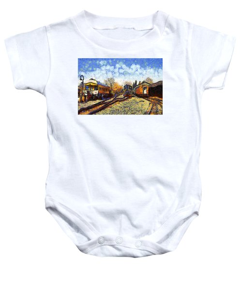 Van Gogh.s Train Station 7d11513 Baby Onesie