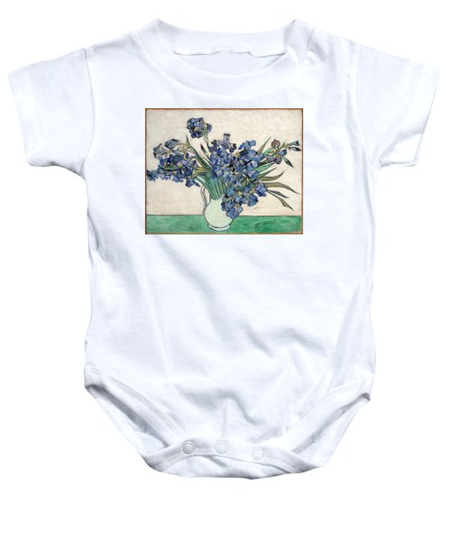 Baby Onesie featuring the painting Vase With Irises by Van Gogh