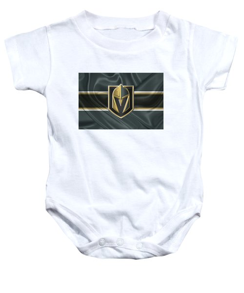 Vegas Golden Knights - 3 D Badge Over Silk Flag Baby Onesie