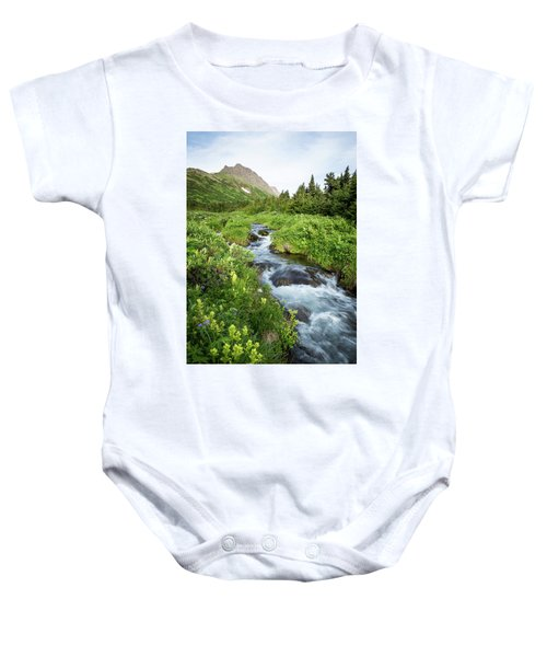 Verdant Mountain Stream Baby Onesie