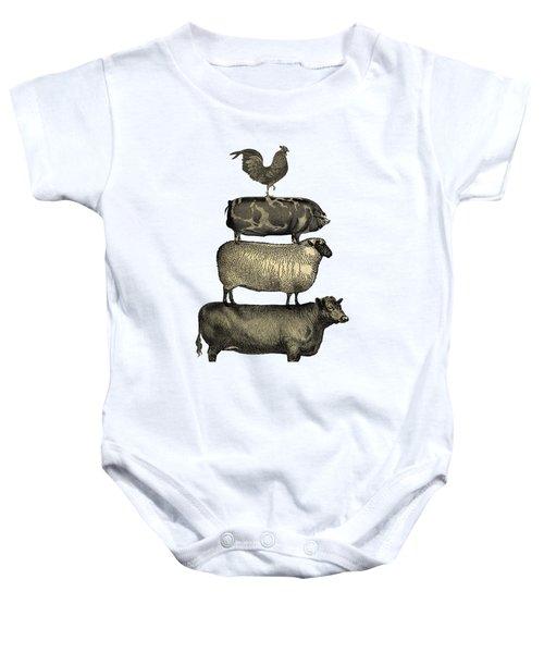 Vintage Farm Animals Tee Baby Onesie