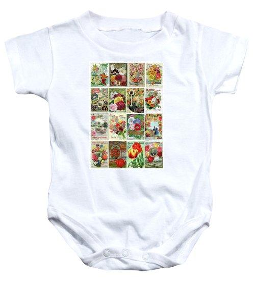 Vintage Flower Seed Packets 1 Baby Onesie