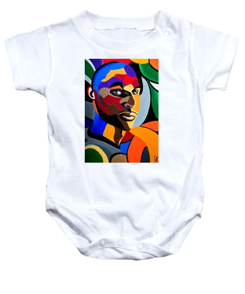 Visionaire, Abstract Male Face Portrait Painting - Illusion Abstract Artwork - Chromatic Baby Onesie