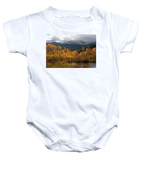 Vivid Autumn Aspen And Mountain Landscape Baby Onesie