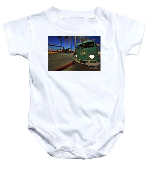 Volkswagen Bus At The Imperial Beach Pier Baby Onesie