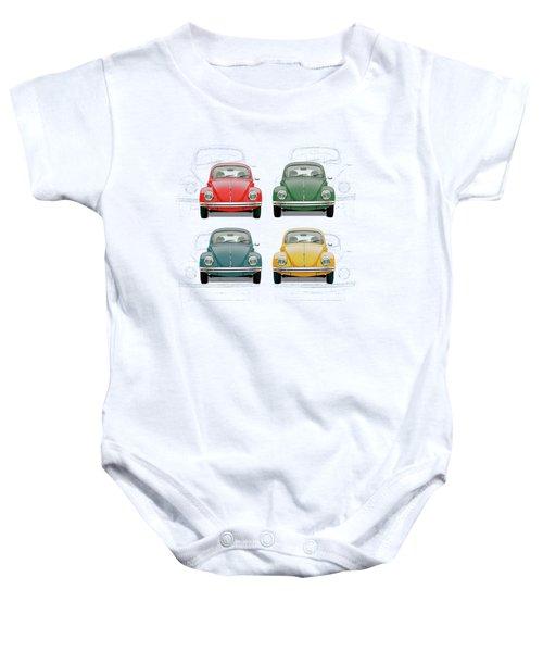 Volkswagen Type 1 - Variety Of Volkswagen Beetle On Vintage Background Baby Onesie