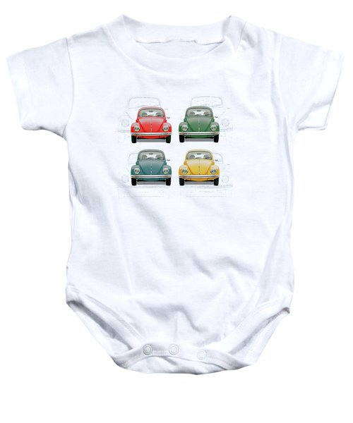 Volkswagen Type 1 - Variety Of Volkswagen Beetle On Vintage Background Baby Onesie