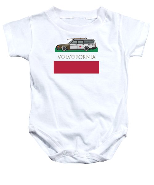 Volvofornia Slammed Volvo 245 240 Wagon California Style Baby Onesie by Monkey Crisis On Mars