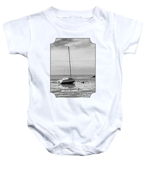 Waiting For High Tide Black And White Baby Onesie by Gill Billington