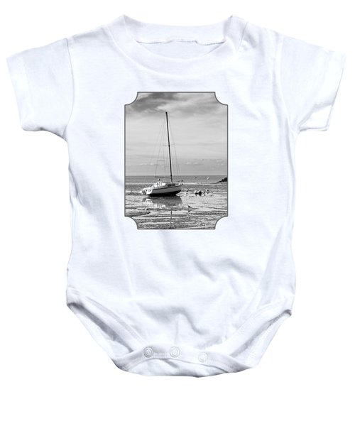 Waiting For High Tide Black And White Baby Onesie