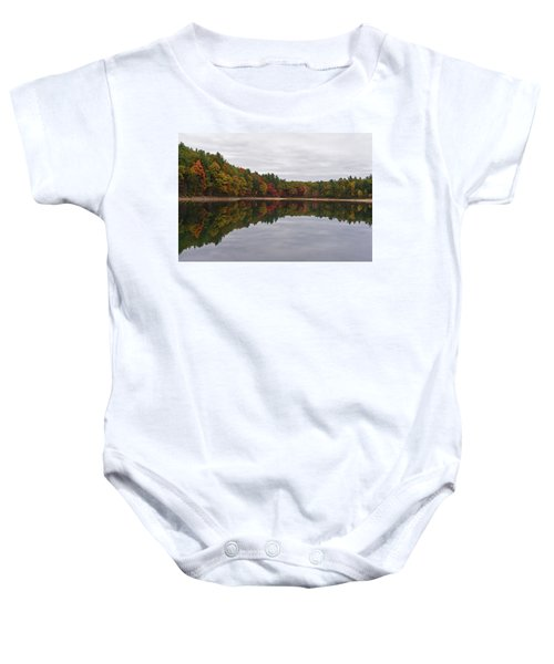 Walden Pond Fall Foliage Concord Ma Reflection Trees Baby Onesie