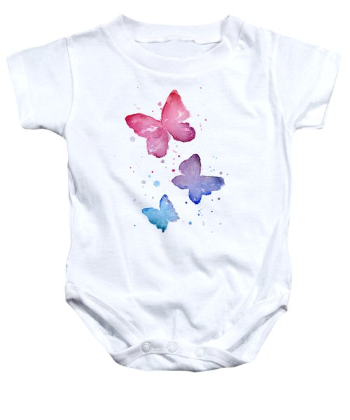 Watercolor Butterflies Baby Onesie by Olga Shvartsur