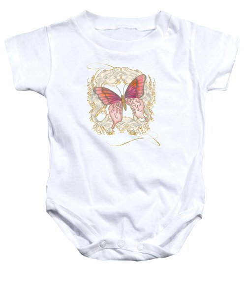 Watercolor Butterfly With Vintage Swirl Scroll Flourishes Baby Onesie