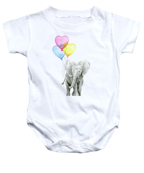 Watercolor Elephant With Heart Shaped Balloons Baby Onesie