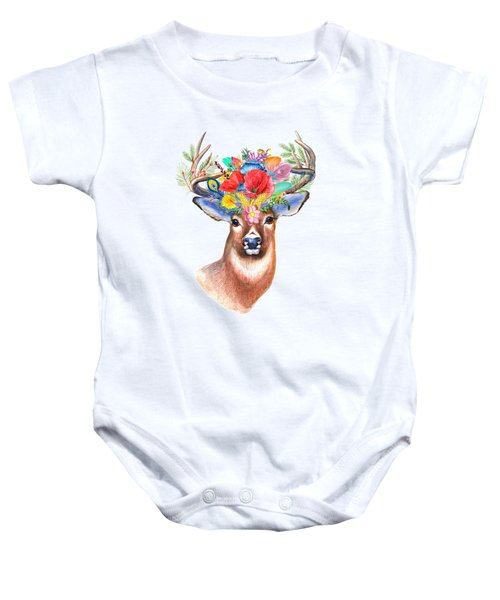 Watercolor Fairytale Stag With Crown Of Flowers Baby Onesie