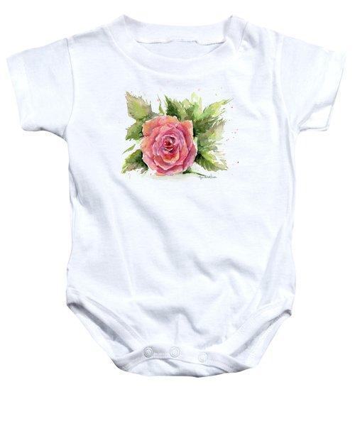 Watercolor Rose Baby Onesie