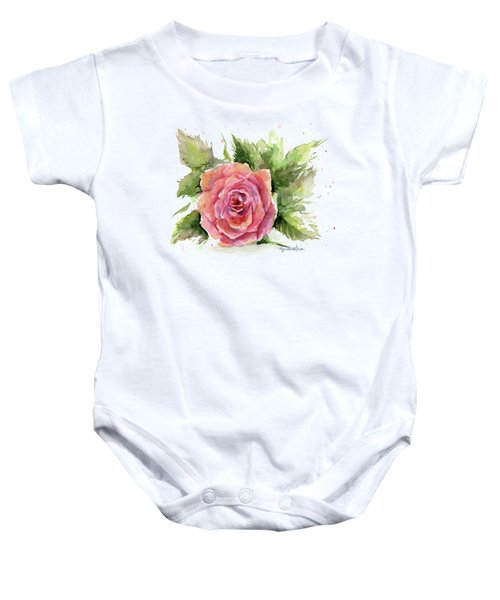 Watercolor Rose Baby Onesie