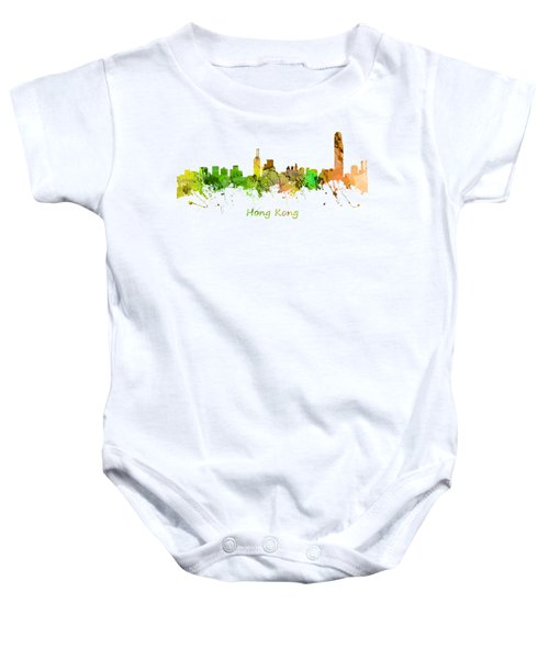 Watercolor Skyline Of Hong Kong Baby Onesie by Chris Smith