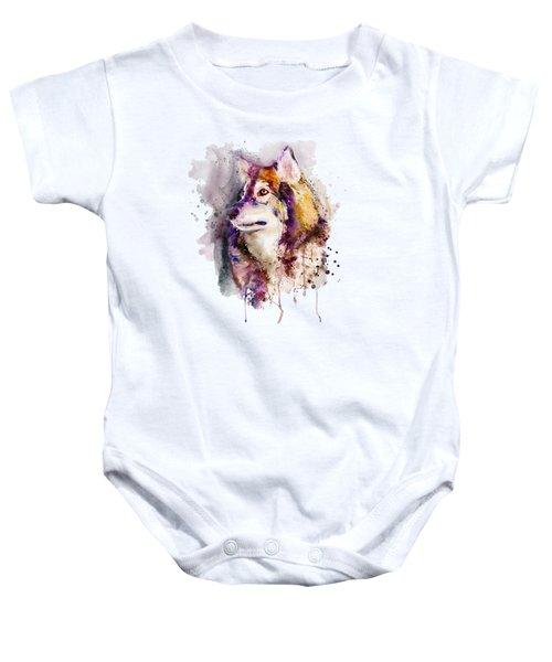 Watercolor Wolf Portrait Baby Onesie