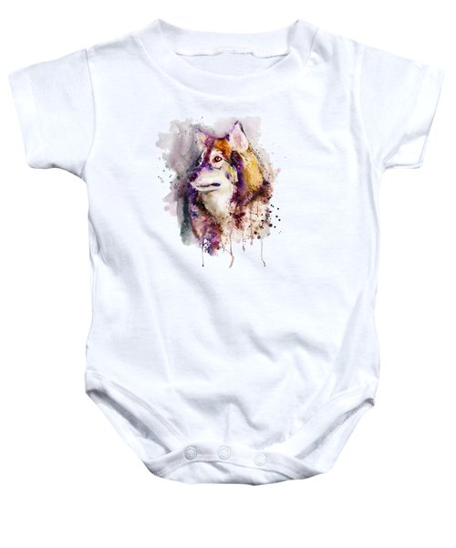 Watercolor Wolf Portrait Baby Onesie