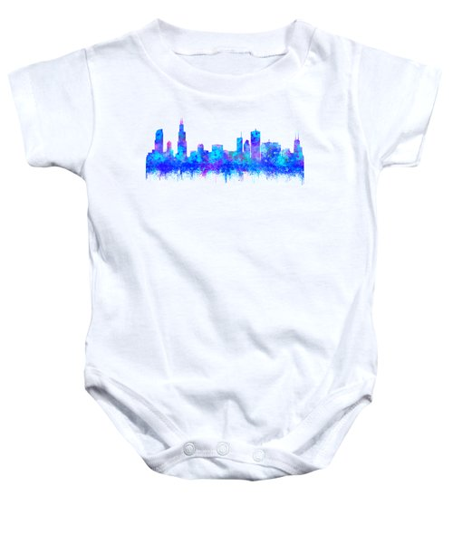 Baby Onesie featuring the painting Watercolour Splashes And Dripping Effect Chicago Skyline by Georgeta Blanaru