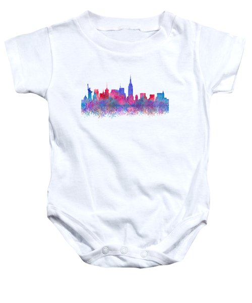 Baby Onesie featuring the digital art Watercolour Splashes New York City Skylines by Georgeta Blanaru
