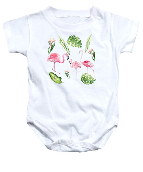Baby Onesie featuring the painting Watercolour Tropical Beauty Flamingo Family by Georgeta Blanaru