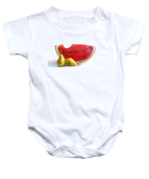 Watermelon And Pears Baby Onesie by Carlos Caetano