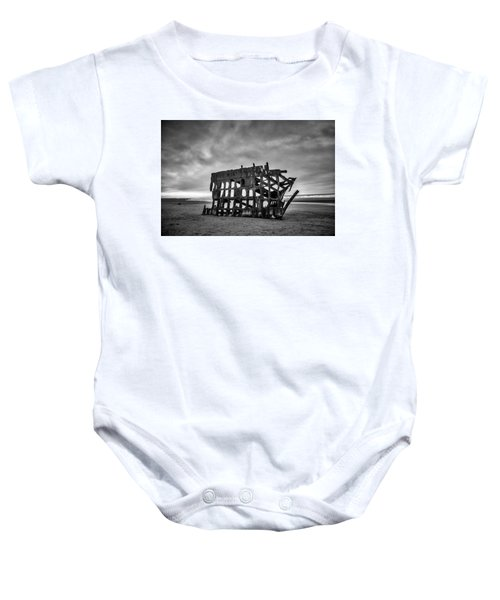 Weathered Rusting Shipwreck In Black And White Baby Onesie