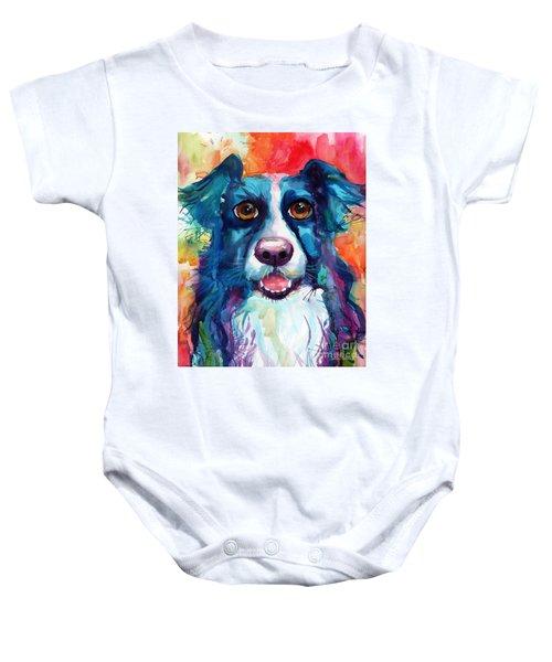 Whimsical Border Collie Dog Portrait Baby Onesie