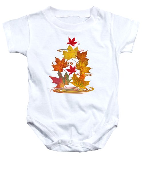 Whirling Autumn Leaves Baby Onesie
