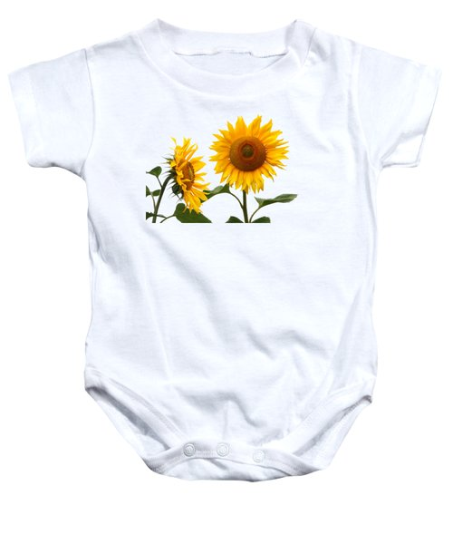 Whispering Secrets Sunflowers On White Baby Onesie
