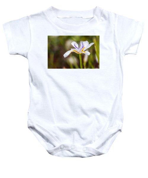 White Beardless Iris Baby Onesie