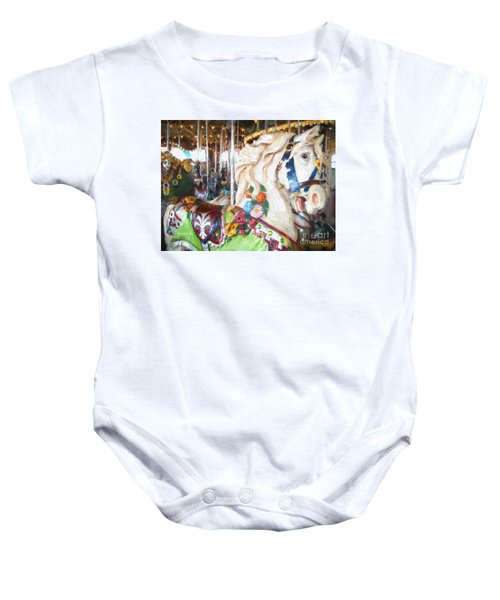 White Carousel Horse Dressed Up Baby Onesie