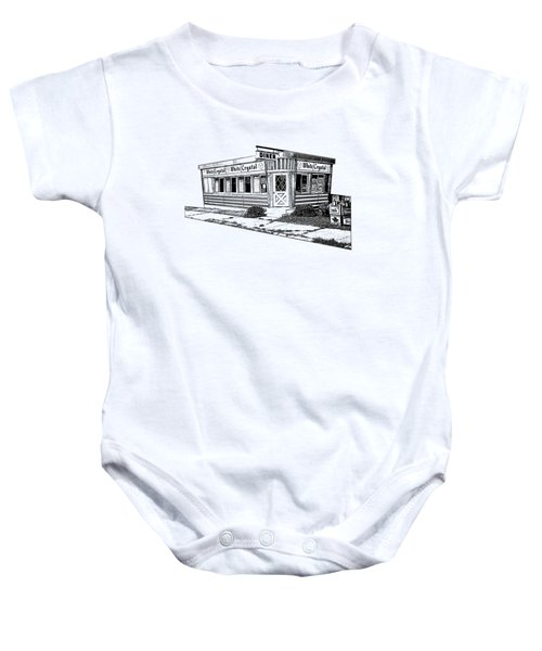 White Crystal Diner Nj Sketch Baby Onesie