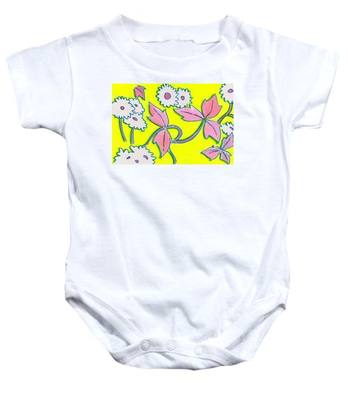 White Flowers On Bright Yellow With Light Purple Leaves Pattern Baby Onesie