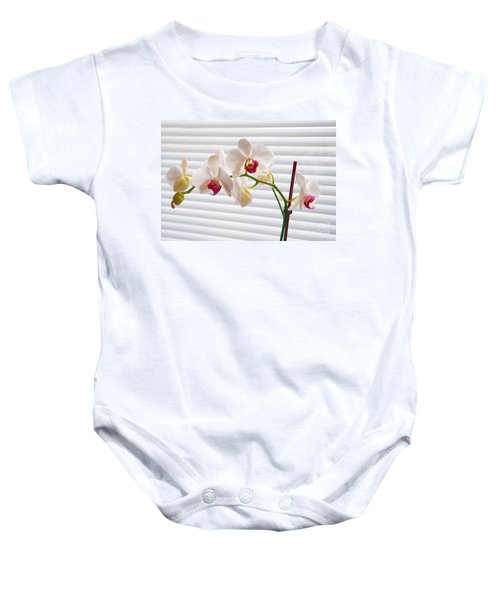 White Orchids On White Baby Onesie