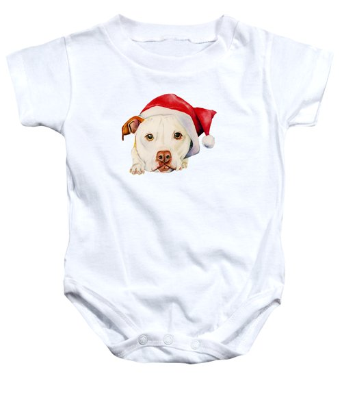 White Pit Bull Terrier Dog With Santa Hat Portrait Baby Onesie