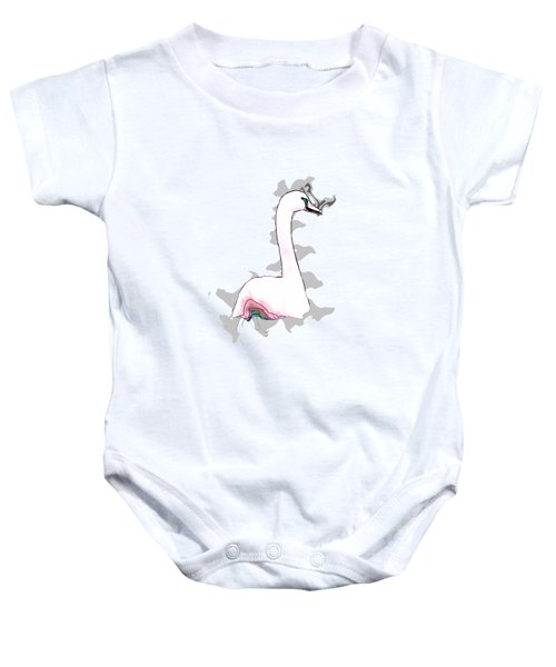 White Swan Swimming  Baby Onesie by Humorous Quotes