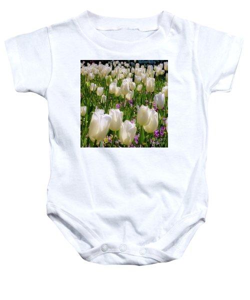 White Tulips In Bloom Baby Onesie