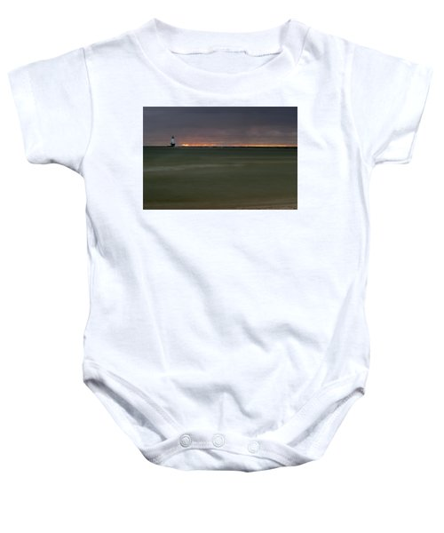 Wide View Of Lighthouse And Sunset Baby Onesie