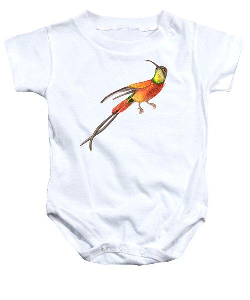 Winged Jewel 6, Watercolor Tropical Rainforest Hummingbird Red, Yellow, Orange And Green Baby Onesie