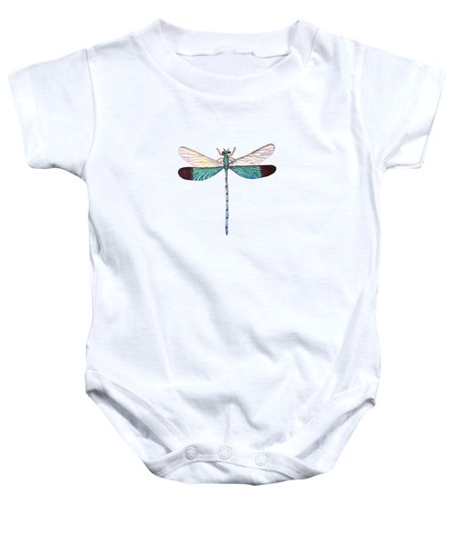 Winged Jewels 1, Watercolor Tropical Dragonfly Aqua Blue Black Baby Onesie