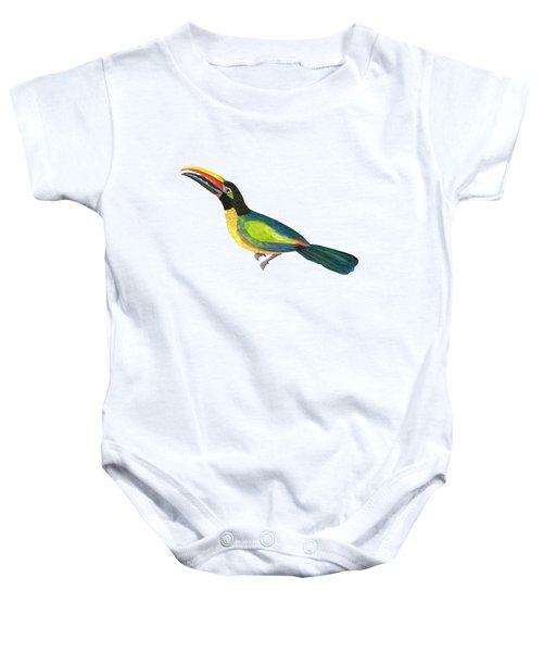 Winged Jewels 2, Watercolor Toucan Rainforest Birds Baby Onesie