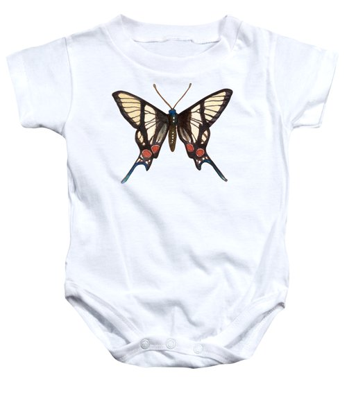 Winged Jewels 4, Watercolor Tropical Butterflie Black White Red Spots Baby Onesie