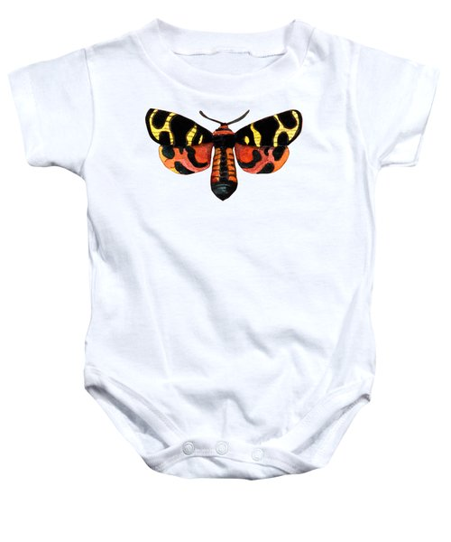 Winged Jewels 5, Watercolor Moth Black Yellow Orange And Red Tropical Baby Onesie